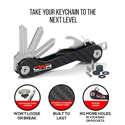 Compact Smart Key Holder Organizer-UP 22 Keys House Mailbox Locks-Carbon Fiber