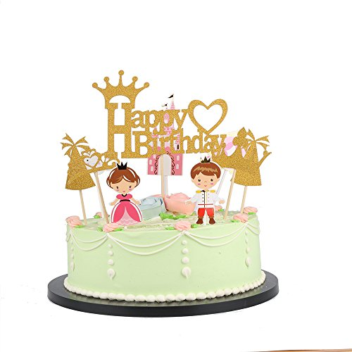 (LXZS-BH LVEUD Gold Castle Prince and Princess Happy Birthday Cake Topper ,Birthday Party Decorations Set of)