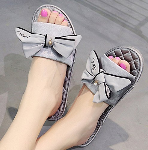 Pantuflas Cattior Mujeres House Cute Slippers Indoor Open Toe Grey
