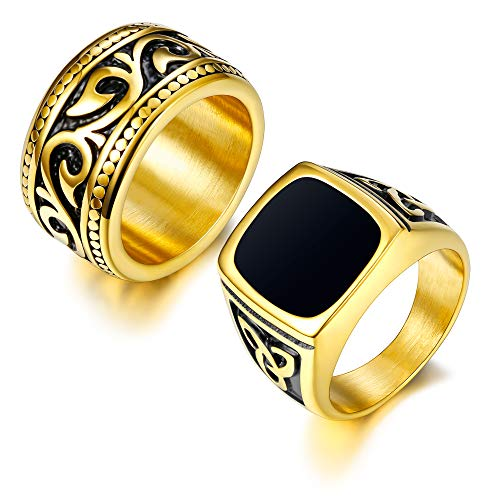 Finrezio 2Pcs 18K Gold Plated Rings for Men Stainless Steel Vintage Biker Signet & Band Ring Set Size 7-13 (9)