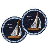 Applikationen Boote und Flicken zum aufbügeln rund Segelboot gestickt blau Set 2 Bügelbilder Jeans Patches maritime Aufbügler Segelschiffe Bügelflicken für Erwachsene Frauen und Männer klein rund 5 cm gestickt