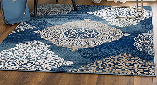 MADISON COLLECTION NM-E2G4-UNK6 406 Modern Abstract Blue Medallions Area Rug Clearance Soft and Durable Pile. Size Option (3′.7″ x 5′), 3′.7″ x 5′ For Sale