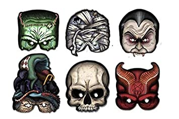 ALMACENESADAN 2351; Pack 6 caretas Monster; Ideal para Fiestas y cumpleaños; Producto de cartón; drácula; Frankenstein; mómia; Calavera; Bruja; Diablo