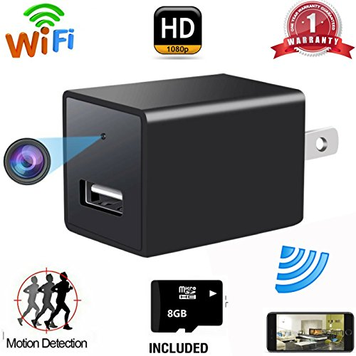 Wifi Hidden Spy Camera , USB Wall Charger Adapter Cam-1080P HD Nanny Camera-Motion Detection-Remote Live Video Viewing-For Home Security (8GB SD Card Included)