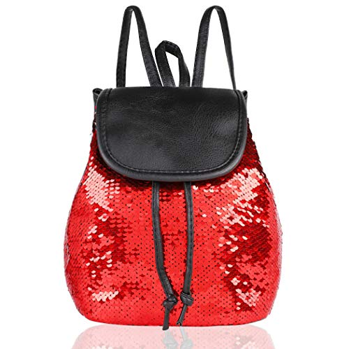 Small Backpack Purse Bling Sequins Backpack School Bags for Teens (Red)