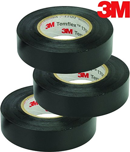3M Temflex Vinyl Electrical Tape, 1700, 3/4 in x 60 ft, Black 1.5core (3-Roll)