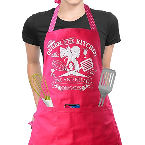 Famgem Cooking Aprons for Women Kitchen - Mother of Dragons Queen of The Kitchen Sexy Bib Professional for Baking, Gardening, Cafe / 100% Cotton/with 3 Pockets/Adjustable Plus Size