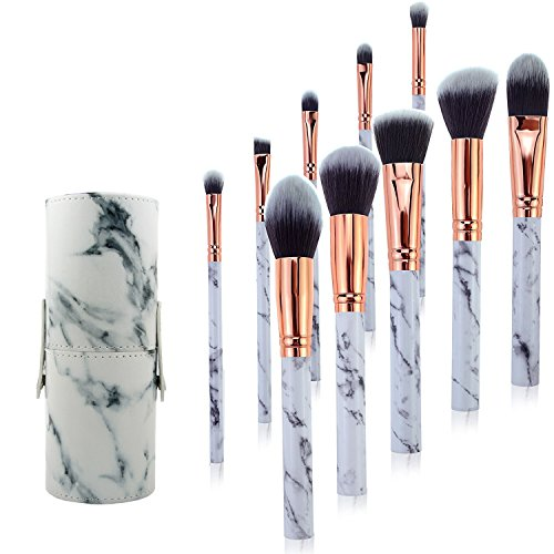 Marble Pattern Make Up Brushes Professional 10 Pieces with Marble Handle Design and Marble Pattern Gift Box,Makeup Brushes Set Foundation Blush Powder Eyeshadow Concealer Makeup Brushes by (Marble Finish Photo)