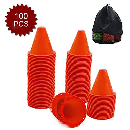 GOGO 100Pcs 3.1 Inches PVC Bright-Colored Slalom Cones for Skating Running Marker Mini Track-Orange (Slalom Cones)