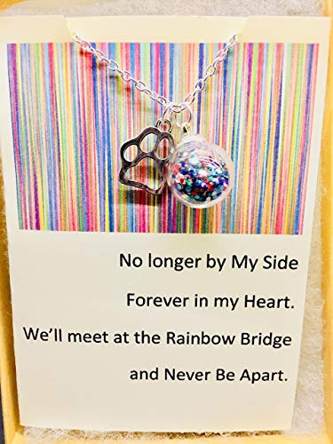 Rainbow Bridge Dog or Cat Pet Loss Memorial Pendant Necklace Glitter Jewelry with quote card by Dorinta