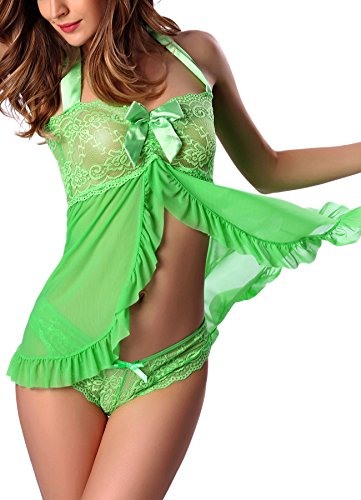 Lace Bra Ruffled (Freemale Women's Sexy Nightwear Halter Lace Strap Chemise Lingerie Babydoll Set (Small, Green))