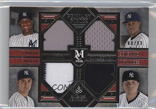 Miller Primary Collection (Andrew Miller; Luis Severino; Michael Pineda; Dellin Betances #88/99 (Baseball Card) 2016 Topps Museum Collection - Four-Player Primary Pieces Quad Relics #PPFQ-PSMB)