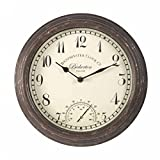 Bickerton Wall Clock Thermometer, Classic Outdoor/Indoor Design Large 12 Inch Face. Suitable Garden, Kitchen, Bathroom More