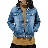SHAREWIN Slim Women Blue Washed Pocket Button Boyfriend Denim Jacket Coat Jean Jackets, Medium