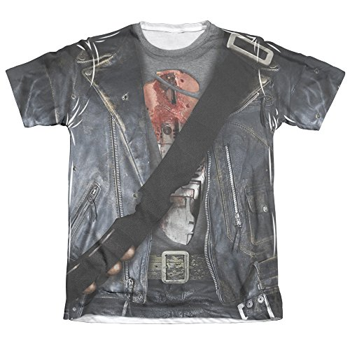 TERMINATOR II/T800 COSTUME (FRONT/BACK PRINT)-ADULT POLY/COTTON S/S (Sarah Connor Terminator 2 Costume)