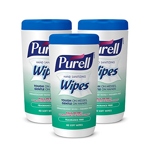 PURELL 9121-06-EC Hand Sanitizing Wipes, Fragrance Free, 40 Count Canister (Pack of 3)