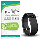 [10-Pack] RinoGear for Fitbit Charge/Charge HR Screen Protector [Active Protection] Flexible HD Crystal Clear Anti-Bubble Film