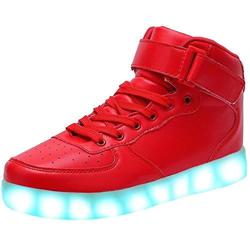 JAIMEBANNISTER Mens Womens USB Charging High Tops Led Light up Sneakers – Red EU39