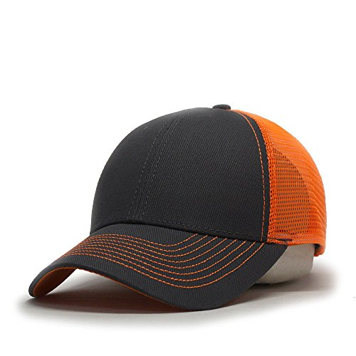 Vintage Year Plain Two Tone Cotton Twill Mesh Adjustable Trucker Baseball Cap (Charcoal Gray/Neon Orange) Cotton Trucker Cap