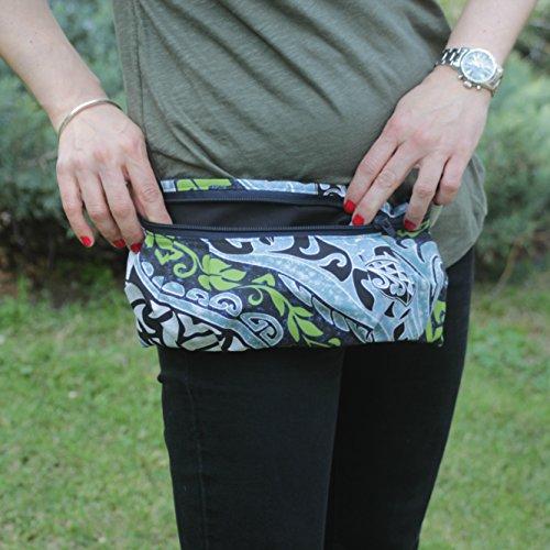 Riñonera Polinesia - Azul - Bolso cinturón hecho a mano en lona y algodón, cerrado con cremallera: Amazon.es: Handmade