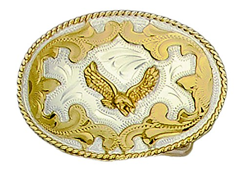 German Silver Tone and Gold Tone Belt Buckle with Soaring Eagle ()