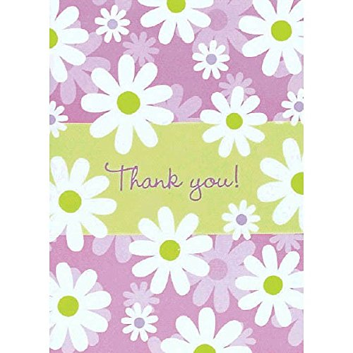 Amscan Blossoming Daisies and More Thank You Notes Set Party Supply (Pack of 16), Multicolor, 5 1/2
