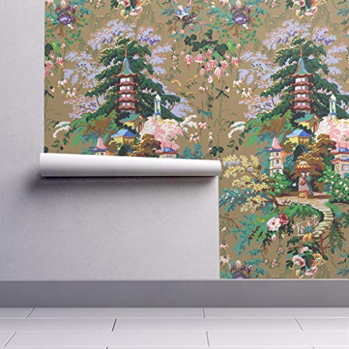 (Chinoiserie Wallpaper Roll - Asian Toile Palace Antique Spring by Peacoquettedesigns - 1 Roll 24in x 27ft)