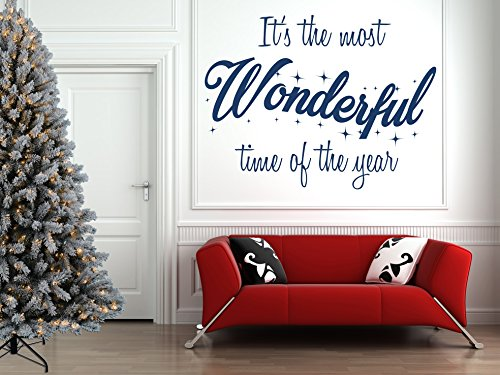 Mural Christmas - It's the Most Wonderful Time of the Year' Christmas Quote, Vinyl Wall Art Sticker, Mural, Decal. Home, Wall, Window, Mirror Decor.