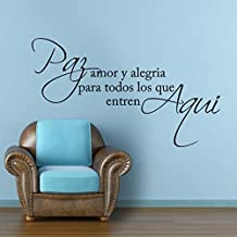 Spanish Wall Sticker Love Saying Decal Letters Phrase Words Wall Quote Vinyl Home Wall Art - pay amor y alegria Black