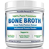 Bone Broth Protein Powder from Grass Fed Beef - 20oz - High in Collagen & Gelatin - Paleo & Keto Friendly - Unflavored (1 Pack)