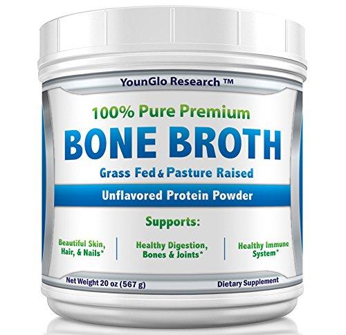 Bone Broth Protein Powder from Grass Fed Beef - 20oz - High in Collagen & Gelatin - Unflavored (1 Pack)