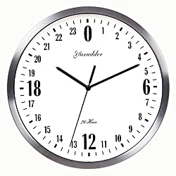Newest 24 Hour Dial Design 12 Inches Metal Frame Modern Fashion Decorative Round Wall clock (silver frame)