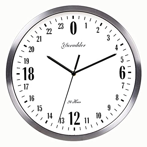 Newest 24 Hour Dial Design 12 Inches Metal Frame Modern Fashion Decorative Round Wall clock (silver (24 Hour Dial Clock)
