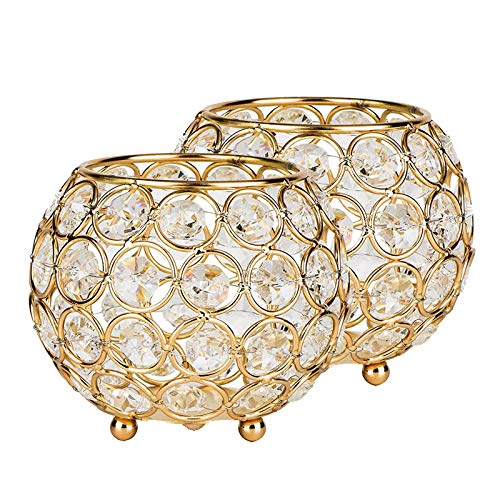 - LLY Gold Crystal Ball Candle Holder 2pcs Wedding Crystal Candelabra for Christmas Dining Room Coffee Table Decorative Centerpiece