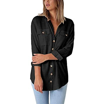 ddf4a4f8a909a ❤ Cotton Shirt Clearance Womens Loose Button Long Shirt Dress ...