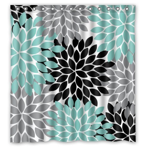 Black Grey Green Dahlia floral Pattern Shower Curtain Polyester Waterproof 66