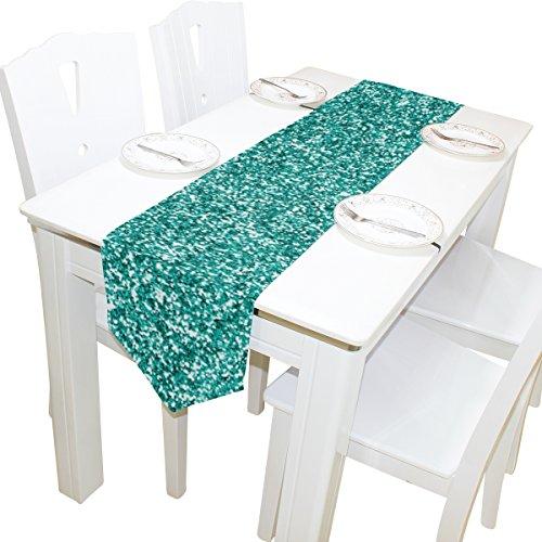 ALAZA Camino de mesa Home Decor, elegante azul turquesa con purpurina Mantel Runner Mat de café para Boda Fiesta Banquete...