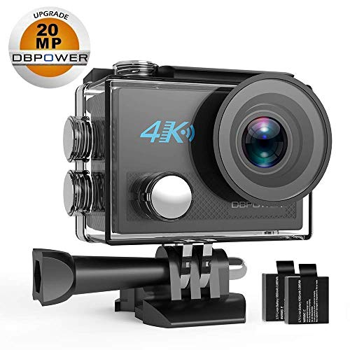 DBPOWER Action Camera 4K WiFi Ultra HD 20MP Sports Camera 30m Underwater Waterproof 170 Degree Adjustable Wide Angle Lens Camcorder 2 Rechargeable Batteries Mounting Accessories Kit (N5)