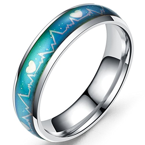 Jude Jewelers 6mm Stainless Steel Color Changing Heart Shaped Mood Ring Wedding Band Cocktail Party Anniversary Promise (Silver, - Free Mood Rings