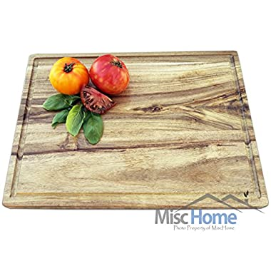 +Sale+ Gourmet Acacia Cutting Board with Juice Drip Groove 14 x 10 Inches Eco Friendly Perfect for Cutting or Serving Platter as a Cheese Plate With Unique Wood Grain Better Than Bamboo