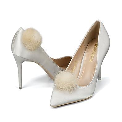 04792fd3976 YOUMU Femmes Clips de chaussures accessoire Pompon 10 couleurs (Beige)