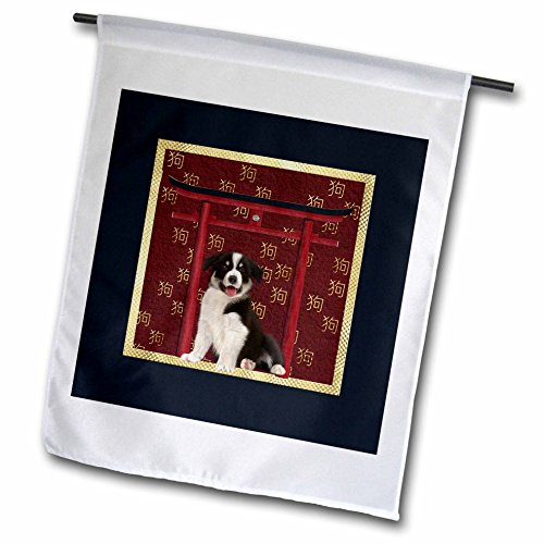 Asian Border Square Banner (3dRose Beverly Turner Chinese New Year Design - Border Collie, Red Asian Arch, Scattered Sign of the Dog, Gold - 12 x 18 inch Garden Flag (fl_262872_1))