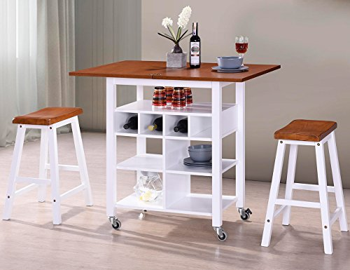 - Harper&Bright Designs WF038521LAA Phoenix Series Dining 3-Piece Set with Storage Shelves, Folding Table Top and 2 Locking Castors (Oak and White)