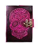 TUZECH Pure Genuine Real Vintage Hunter Leather Handmade paper Notebook Diary For office Home to Write Poem Daily Update With attractive Metal Lock and Engraved Skull 7 Inches (Pink)
