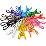30pcs Clothesline Clips, Jmkcoz Bag Clips Clothes Clips Multipurpose Utility Clips Clothes Pegs Steel Wire Clips Plastic Clips for Bags