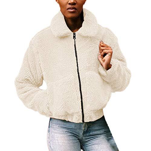 Winter Lapel Warm Casual Jacket Solid Zipper Faux Wool Coat Overcoat Outerwear with Pocket ()
