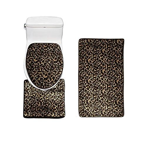 Amagical Animal Pattern Toilet Cover Set 3 Piece Bathroom Mat Rug Lid Toilet Cover (Leopard) (Men Bathroom Rug Set)