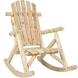 Wood Log Rocking Large Space Chair Single Rocker - Natural