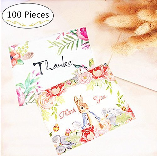 100 Pieces Blank Thank You Greeting Cards - Magnolora Flower Floral Themed Designs Thank You Note Cards, Best for Your Life's Gratitude Moments - Christmas, Wedding, Birthday, Graduation, Baby Shower
