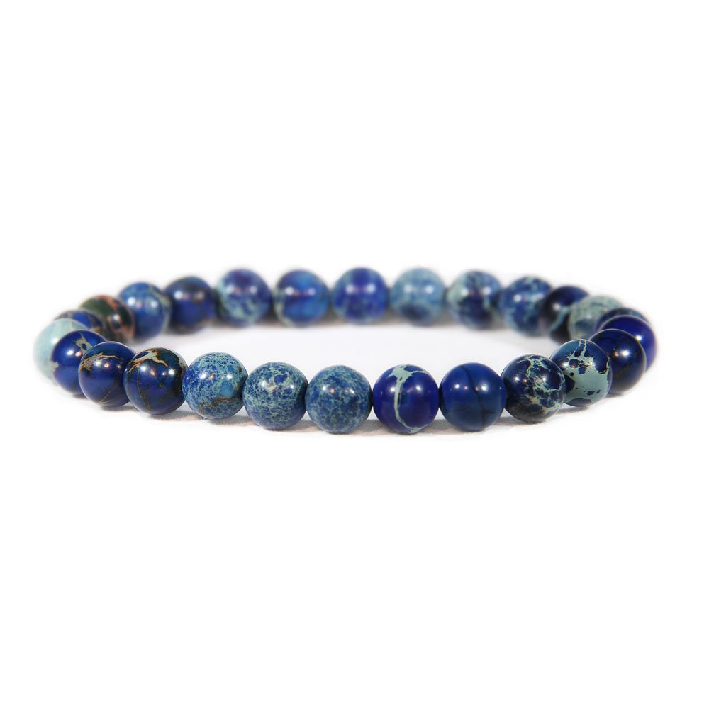 Genuine Imperial Blue Jasper Stone Bead Stretchy Elastic Bracelet, Earth Healing, 8mm, Unisex, for Friendship, Couples, Teens,Genuine Imperial Blue Jasper Stone Bead Stretchy Elastic by Big Cat Rescue